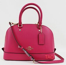 Coach Crossgrain Leather Mini Sierra Satchel Handbag Crossbody Bag Ruby Pink New