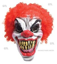 Adult Halloween Horror Clown Mask Men's Scary Red Hair Fancy Dress Masks (Foam)