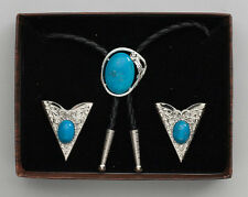 NEW! Western Bolo Tie & Collar Tip Box Set- Silver with Blue Stone Made in USA