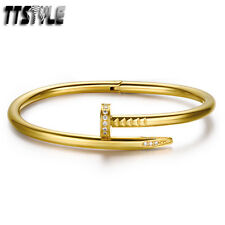 Luxruy TTstyle 18K Gold GP Stainless Steel Bangle Cuff NEW
