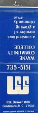 Wayne Community College, Goldsboro, North Carolina Matchbook