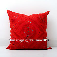 RED INDIAN CUSHION COVER SILK EMBROIDERY WORK WITH MIRROR THROW DECOR ART 16X16""