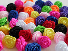 100! Gorgeous Satin Ribbon Roses - 10MM - Great Classic Colour Rose Mix!