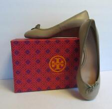 Tory Burch Chelsea Wedge Sandbox tan brown shoe 9 new logo leather bow 45 beige