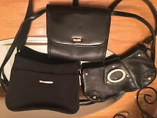 Lot Of 3 Black Purse Hand Shoulder Bags: Messenger Crossbody Koltor, Laurent