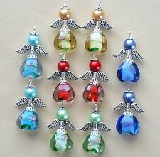 10x Handmade Guardian Angel Charms Pendants Lampwork Flower Heart Beads (2)