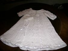 Handmade 3 to 6 month knitted  Christening gown and cap