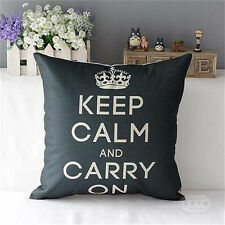 Keep Calm And Carry On  Pillow Cases Sofa Words Hot  Decorative Cushion Cover