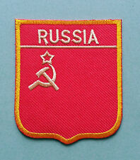 NATIONAL FLAG COUNTRY SHIELD SEW ON / IRON ON EMBROIDERED PATCH:- RUSSIA
