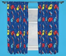 "DISNEY CARS PISTON BLUE 66"" x 72"" DROP CURTAINS KIDS BOYS CHILDS NEW BEDROOM"