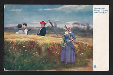 "1906 Tuck Illustrated Songs ""Comin Thro Rye"" music farming postcard"