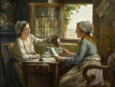 Oil painting Edward Antoon Portielje Tea time youngwomen drinking Coffee canvas