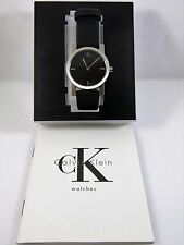New Authentic CALVIN KLEIN K7121 Black Dial Quartz Watch Leather Band Swiss Made