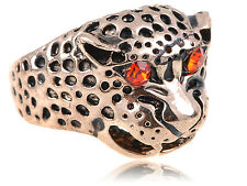Gold-Tone Fierce Red-Eyed Jaguar Cougar Gold Tone Angry Spot Animal Sized Ring