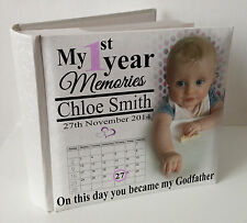 "Personalised white photo album, 100 x 6x4"" photos,baby 1st year memory Godfather"
