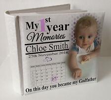 "Personalised white photo album, 100 x 6x4"" photos,baby 1st year memory Godfather"