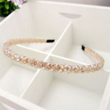 Champagne Fashion Women Bridal Crystal Beads Wedding Tiara Headband Hair Band
