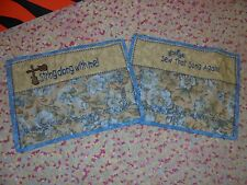 String Along with Me Sew that song again blue embroidered floral placemats set