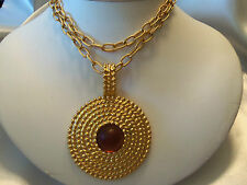 FUNKY COOL Textured Goldtone Frosted TOPAZ Color Center Pendant Necklace F5-N33