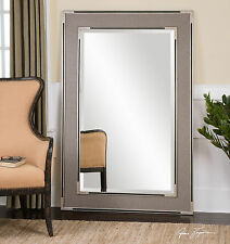 "HUGE NEW RICH 61"" OVERSIZED GRAY BEVELED FLOOR MIRROR AGED SILVER & BLACK ACCENT"