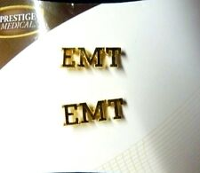EMT Collar Pin Tac Set of 2 Cut Out Letters Medical Lapel Gold Plated New