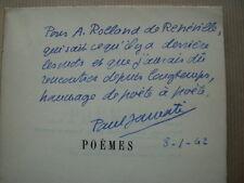 """Paul JAMATI """" Poèmes """" E.O. DEDICACéE à ROLLAND de RENEVILLE, 1938"""