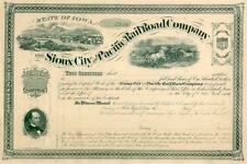 18__ Sioux City & Pacific RR Stock Certificate