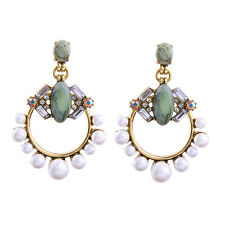 ELEGANT ANTHROPOLOGIE 2,5'' GREEN STONES WHITE PEARLS DROP DANGLE EARRINGS - NEW