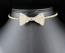 BOW TIE CLEAR AUSTRIAN RHINESTONE CRYSTAL NECKLACE CHOKER PROM B1626 GOLD TONE