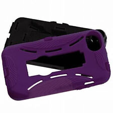 Apple iPhone4 4S Purple/Black Dual Stand Cover Armour Protection Case With Stand