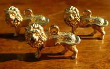 3x Gold Tone LION CHARMS 12g each 3 Dimensional PENDANT?