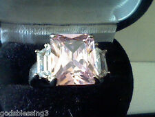 WOMENS EMERALD & BAGUETTE PINK & WHITE LCS DIAMOND  WEDDING ENGAGEMENT RING SZ 7