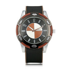 WOMAGE Men Big Round Dial Silicon Quartz Watch