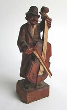 Antique German Hand Carved & Painted Polychrome Wood Figure of Cello Musician