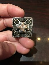 Vintage Large Silver Stainless Steel Cross Crest Size 14 Men's Ring