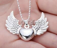 925 Sterling Silver Plated Heart Angel Wing Charm Pendant Necklace Jewelry HOT