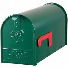 Green Steel Premium Mailbox Heavy Duty Solar Metal Letter Post-Mounted Home