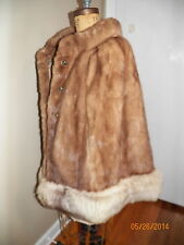 vintage brown mink fur cape silver gray fox fur trim cape cloak jacket coat OS