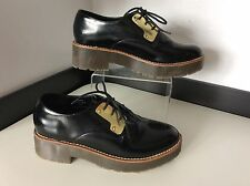 RIVER ISLAND Black Brogue Shoes Size 38 Uk 5 Vgc Lace Ups Gold