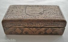 Intensely EXQUISITE Old ENGLISH Wood BOX Beautifully HAND CARVED plus 3 STAMPS