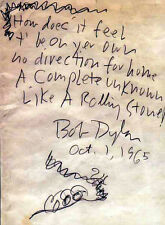 BOB DYLAN REPRO 1965 - LIKE A ROLLING STONE - HANDWRITTEN LYRICS . NOT CD DVD