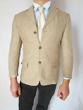 Mens GB SPORTELLI Tweed Single Breast Beige Linen Blazer Jacket sz 46 XS/S AO69