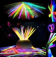 """100 Pcs 8"""" Glow Sticks Bracelet Necklaces Neon Party Lights Premium Multi Colors"""