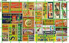 NH098 1/2 Set N SCALE VINTAGE SODA, CIGAR TOBACCO DRY GOODS SIGNAGE AND ADS