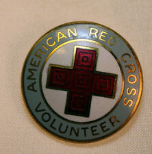 Vintage American Red Cross Volunteer Pin World War II WWII Gray Red and White