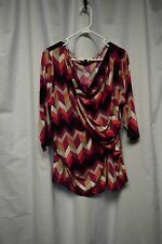 Womens Shirt Size 2X Worthington Multi Color Pull Over Side Gather 3/4 Sleeve