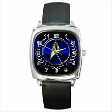 STAR TREK BADGE Quality Square Metal Wrist Watch Gift NEW D01