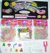LOOM BRACELET MAKING KIT + GLOW GLITTER CANDY SCENTED 1500 BANDS CHARMS S-CLIPS
