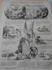 1876 PELE MELE de dessins La Pêche dans ma Méditerranée société Italo-Francaise