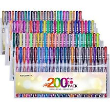 Reaeon 200+ Gel Pens Coloring Set Unique 100 Gel Colored Pen with 100 Refills
